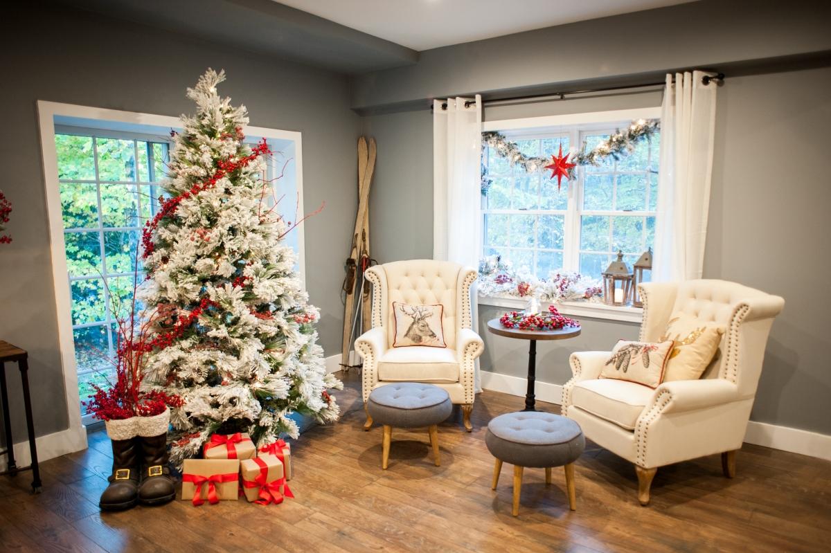 Belham Living 7.5 ft. Flocked Pine Needle Slim Pre-Lit Christmas Tree with Berries and Pine Cones
