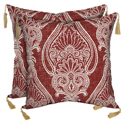 Outdoor Red Paisley Pillows