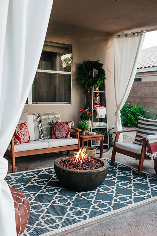 holiday patio with curtains