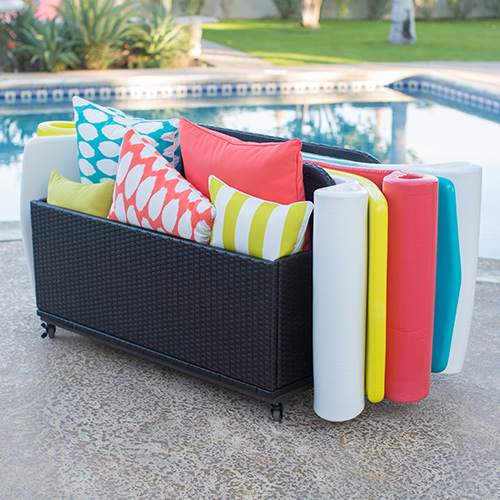 deck box storage for outdoor pillows and pool floats