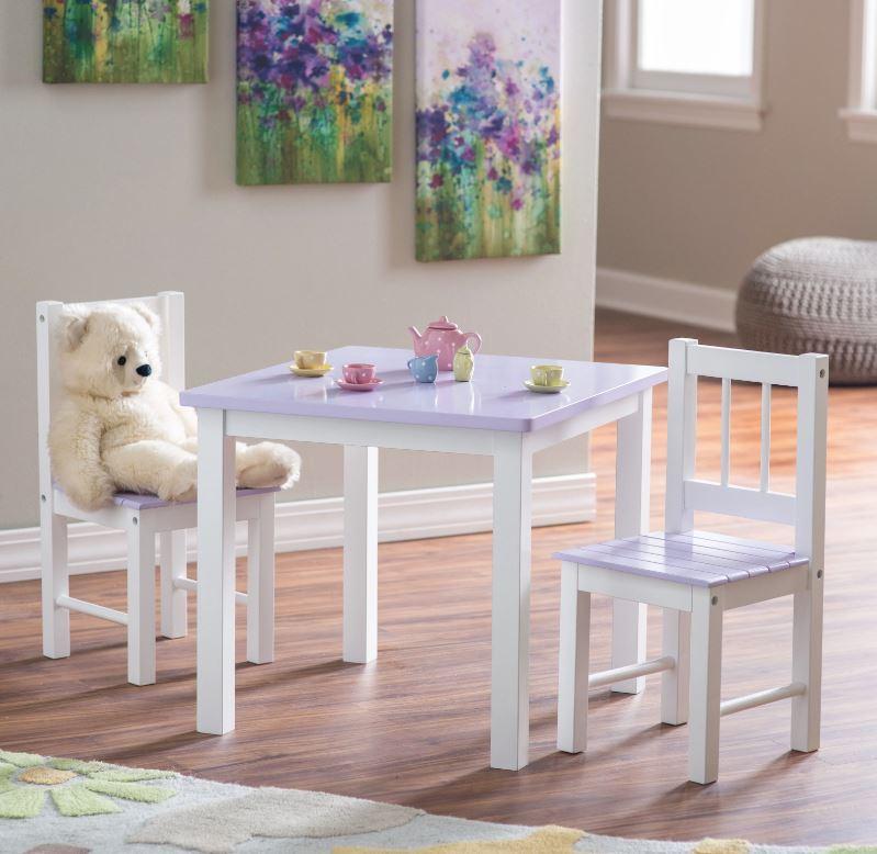 lilac kids table set