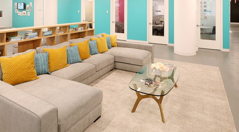 the skimm office lounge area