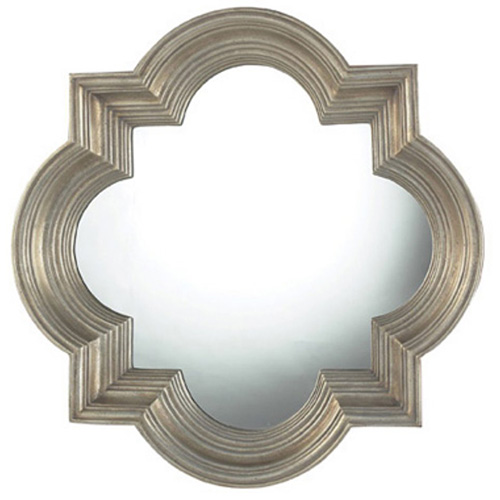 thick frame quatrefoil shaped wall mirror