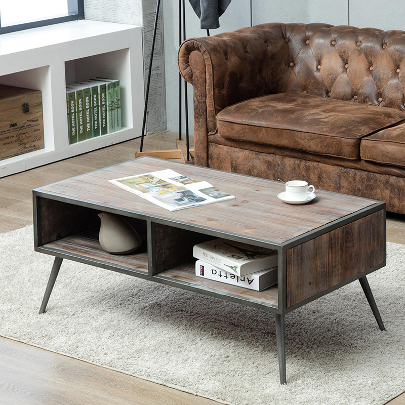 Coffee table that blends mid-century modern and industrial, rustic styles