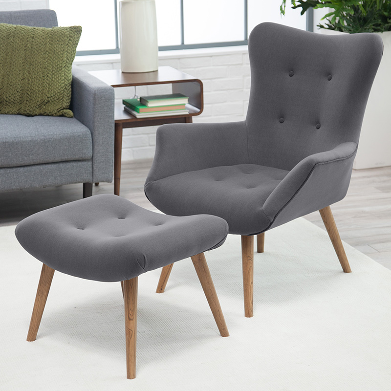 Grey mid-century accent chair