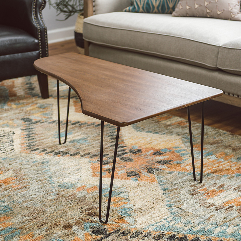 Mid-century modern coffee table with hairpin legs