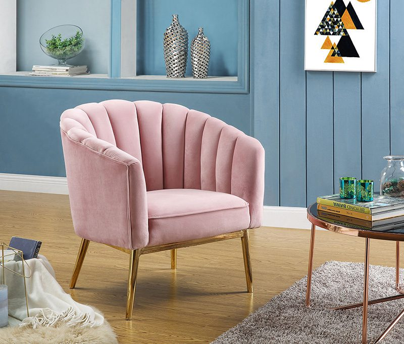 Pink accent chair with gold legs