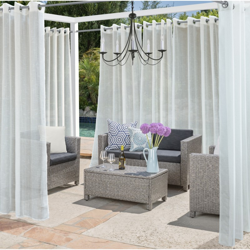 sheer outdoor curtains with outdoor chandelier