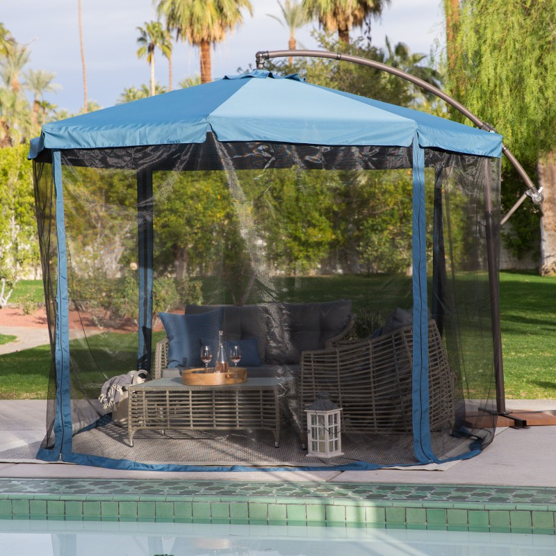 blue offset patio umbrella with netting