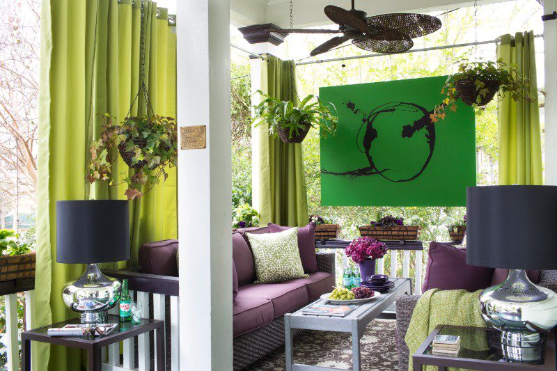 green front porch curtains