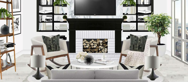 Black and white Scandi-inspired living room with mantel