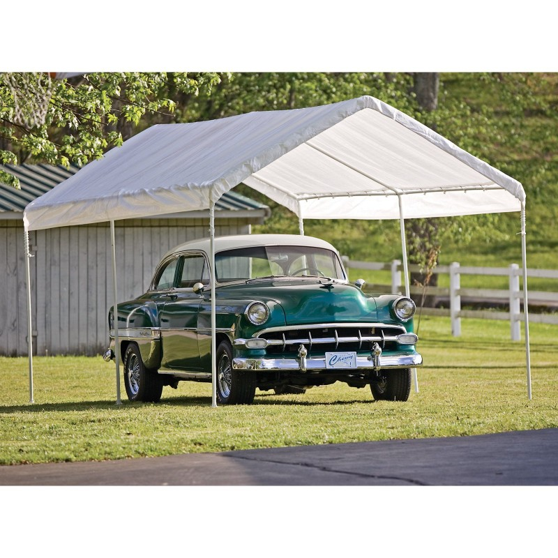carport canopy with vintage car