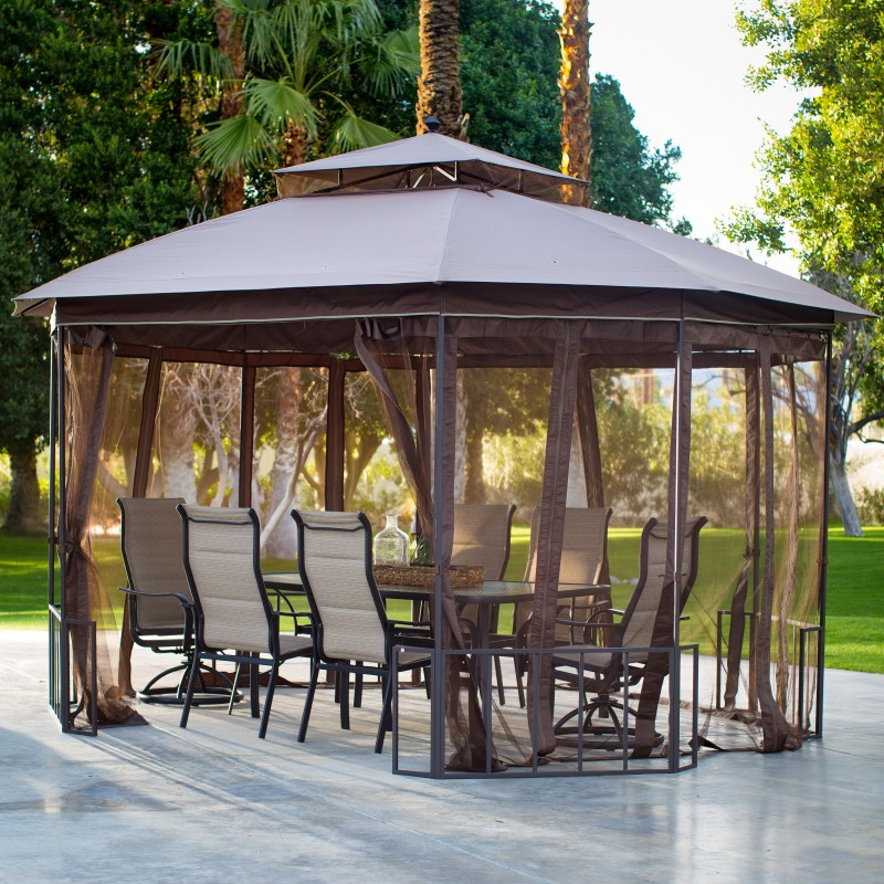 gazebo with netting and patio dining set & 8 Outdoor Shade Ideas for the Deck u0026 Patio - Hayneedle