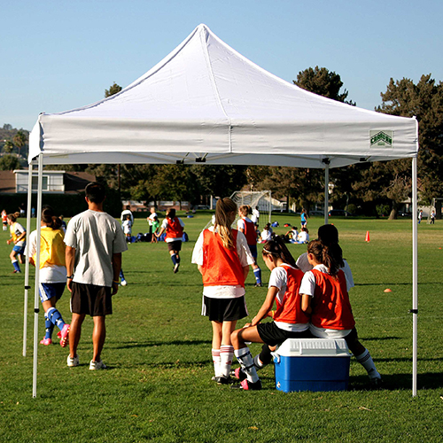 canopy being used for shade for soccer players
