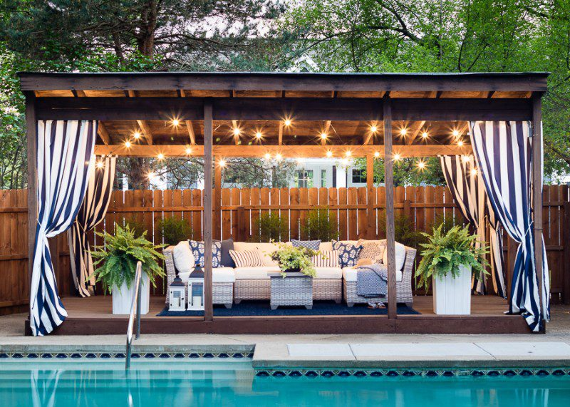 poolside pergola with curtains