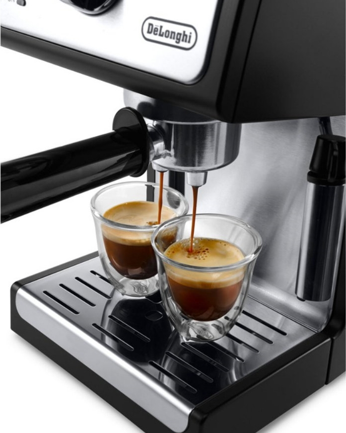 Double shot of espresso on machine