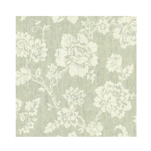 Sage green wallpaper with white floral print