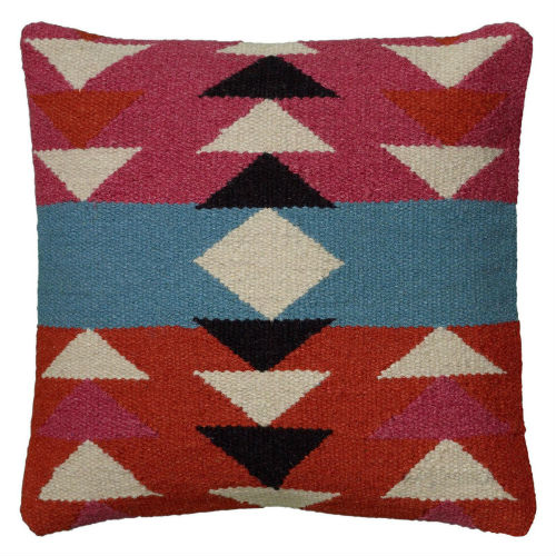 Red and pink Aztec throw pillow