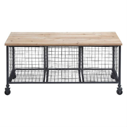 Wire and wood storage bench