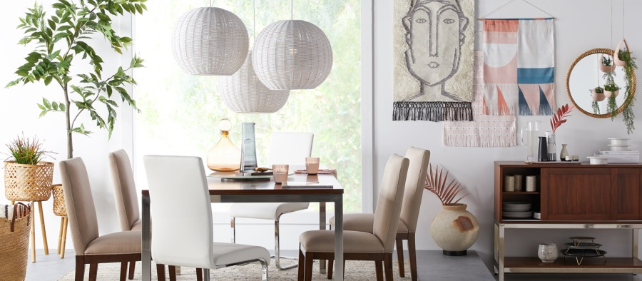 White pendant lights in dining room