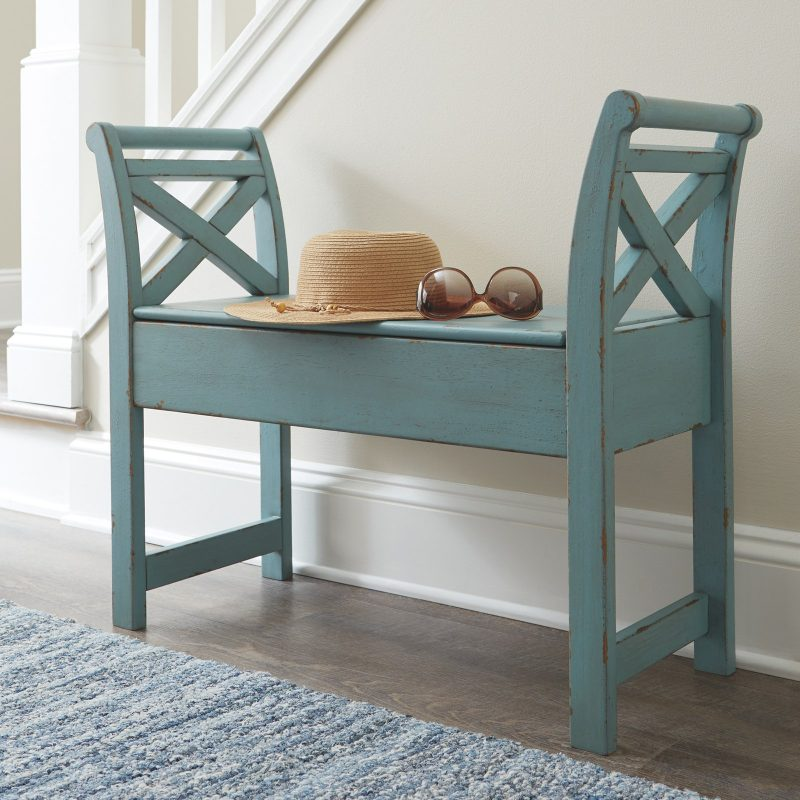 blue painted cottage style indoor bench