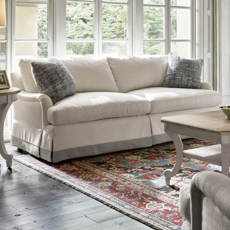 cottage style fabric sofa with slipcover