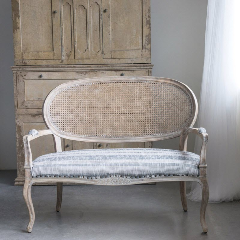 weathered wood upholstered cottage style bench