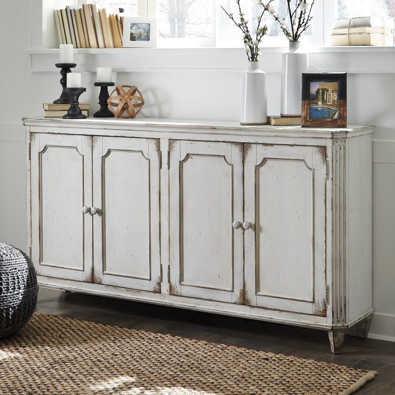 distressed white wood cottage style credenza buffet