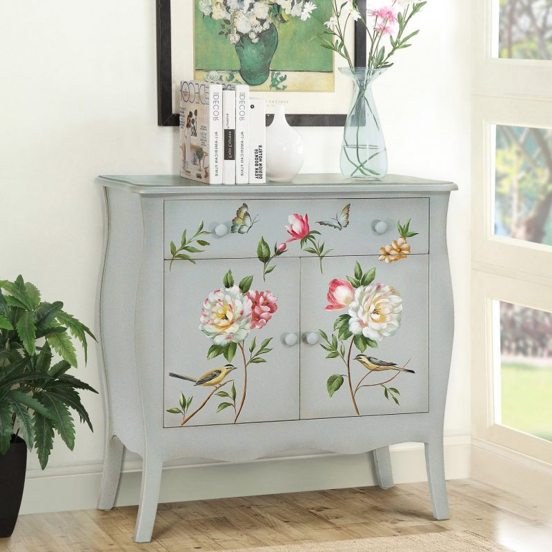 hand painted accent cabinet
